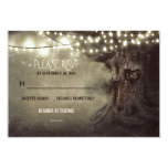 old tree string lights rustic wedding RSVP cards Invite