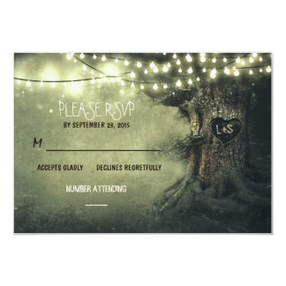 "old tree string lights rustic wedding RSVP cards 3.5"" X 5"" Invitation Card"