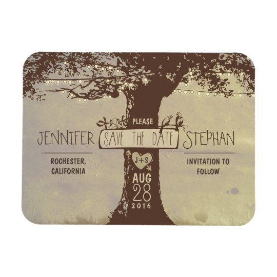 Old tree string lights save the date magnets Zazzle