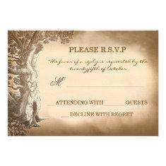 old tree vintage rustic wedding RSVP cards