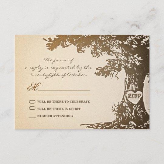 old tree vintage wedding rsvp design zazzle com
