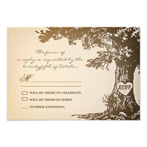 old tree vintage wedding rsvp design personalized invites