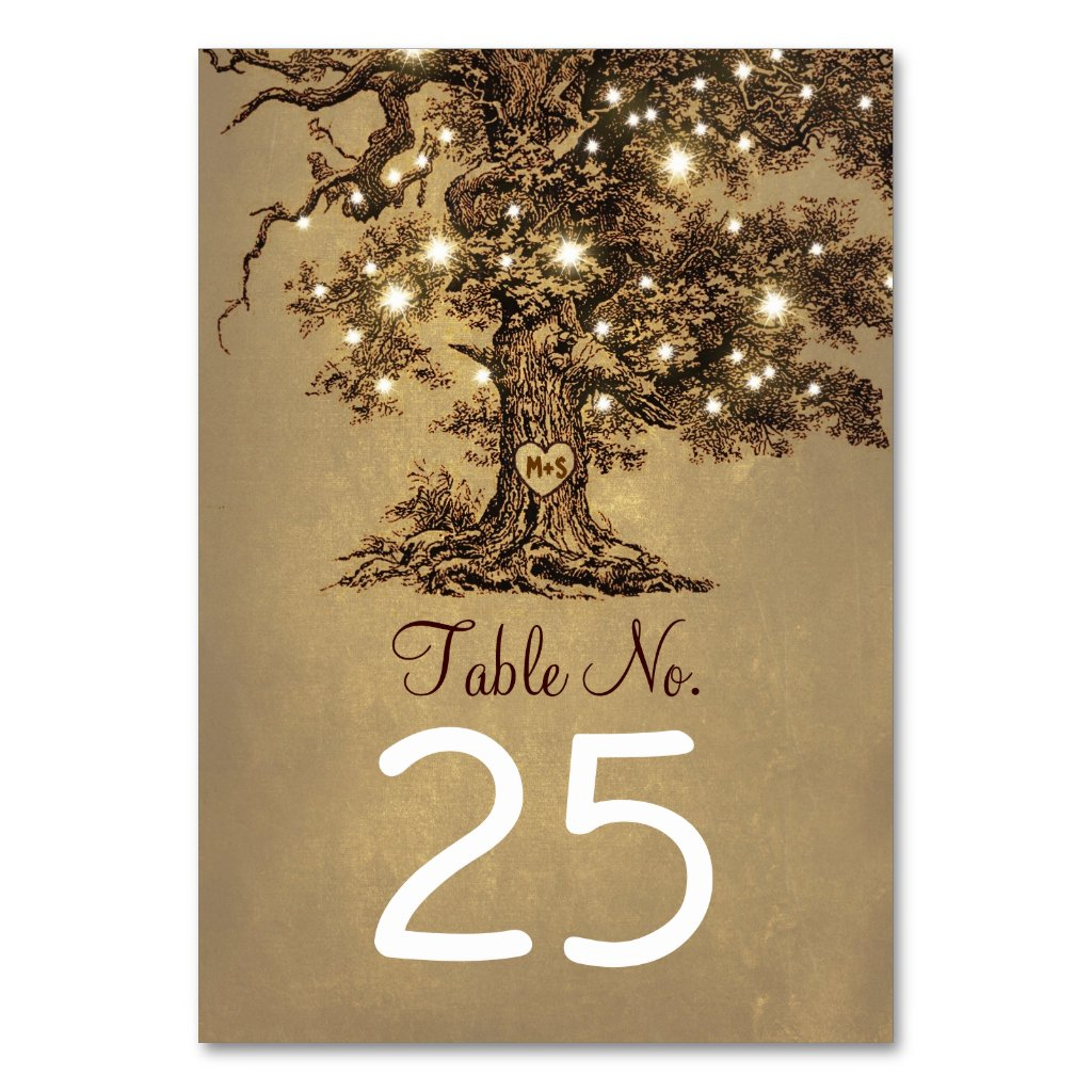 Old Tree Wedding Table Number Cards Place Cards Table Cards