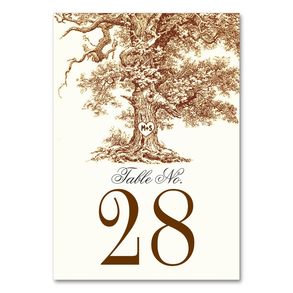 Old Tree Wedding Table Number Cards Place Cards Table Card