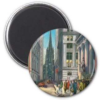 Old Trinity & Wall Street, New York 2 Inch Round Magnet