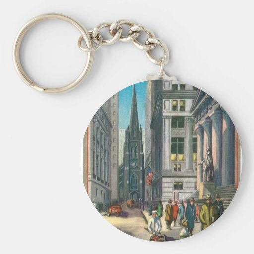 Old Trinity & Wall Street, New York Basic Round Button Keychain