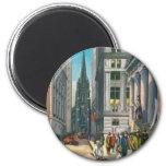 Old Trinity & Wall Street, New York Fridge Magnets