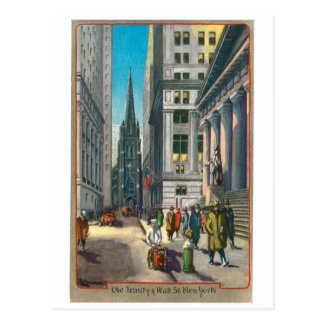 Old Trinity & Wall Street, New York Post Cards