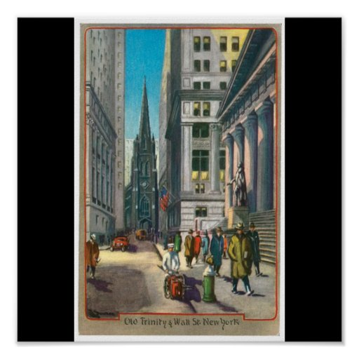 Old Trinity & Wall Street, New York Poster