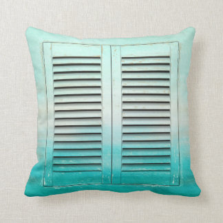 Old tropical colors window shutters throw pillow