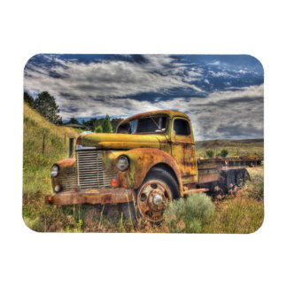 Old truck abandoned in field magnet