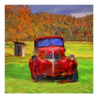 Old Truck and Outhouse Poster