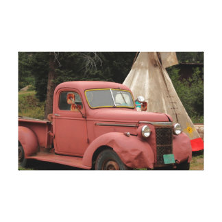 Old Truck and Teepee Stretched Canvas Print