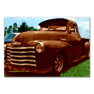 Old truck as a painting table card