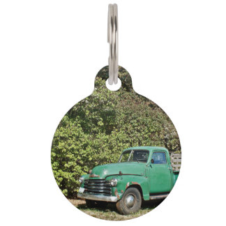 Old Truck at garden Pet Name Tag