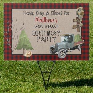 Old Truck Buffalo Checks Drive Thru Birthday Party Sign