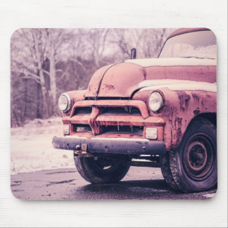 Old Truck Covered in Snow Mouse Pad