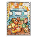 Old Truck Full of Pumpkins Notecard Cards