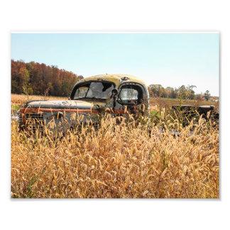 Old Truck in Autumn Farm Field Photo Print
