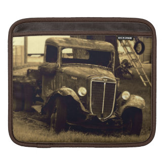 Old Truck on Farm in Sepia Sleeves For iPads