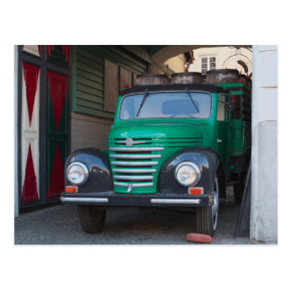 Old truck with beer - postcard
