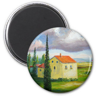 Old Tuscany Farmhouse 2 Inch Round Magnet