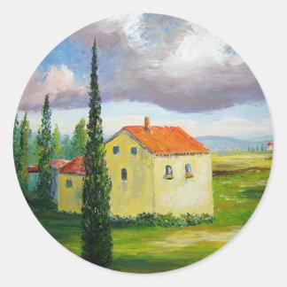 Old Tuscany Farmhouse Classic Round Sticker