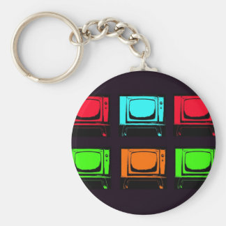 Old Tv Collage Key Chain