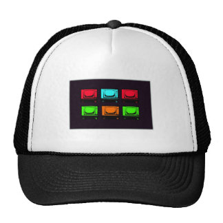 Old Tv Collage Mesh Hats