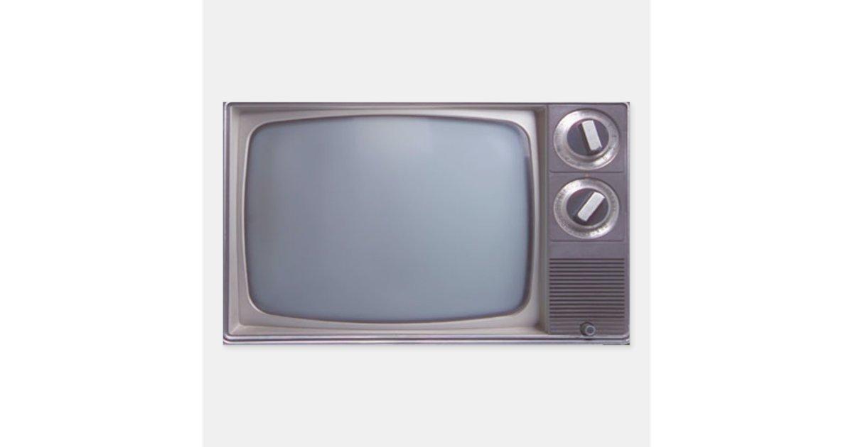 Old TV Rectangular Sticker   Zazzle