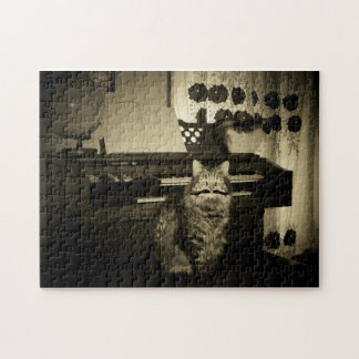 Old tyme play'em out cat jigsaw puzzle