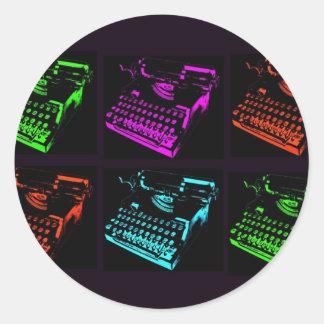 Old Typewriter Collage Classic Round Sticker