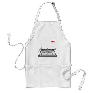 Old Typewriter Heart Adult Apron