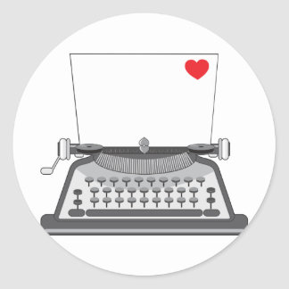 Old Typewriter Heart Classic Round Sticker