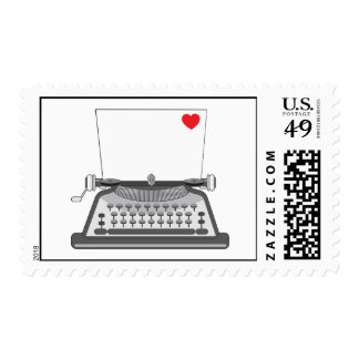 Old Typewriter Heart Postage Stamps