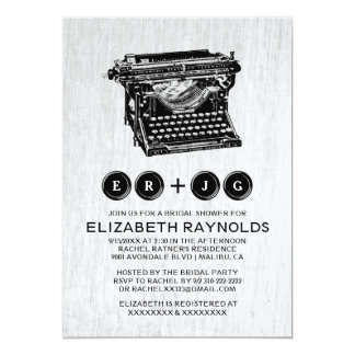 Old Typewriter Keys Bridal Shower Invitations Personalized Announcement