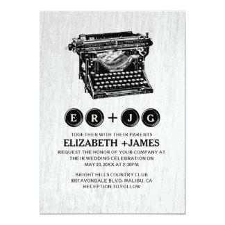 Old Typewriter Keys Wedding Invitations Card
