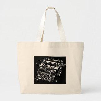 Old Typewriter - Olympia - Black & White antique Large Tote Bag