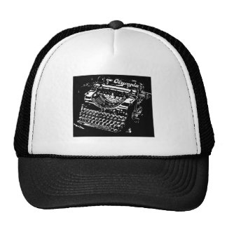 Old Typewriter - Olympia - Black & White antique Trucker Hat