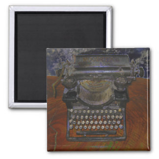 Old Typewriter on Red Table 2 Inch Square Magnet