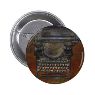 Old Typewriter on Red Table Button