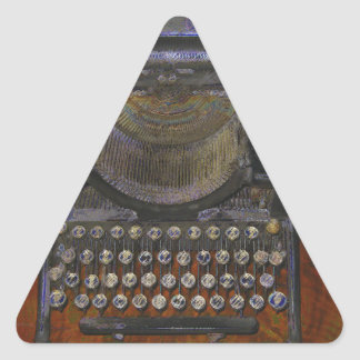 Old Typewriter on Red Table Triangle Sticker