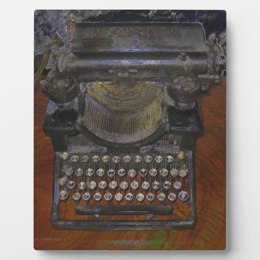 OLd Typewriter Red Table Plaque