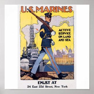 Old U.S. Marines Poster circa 1917