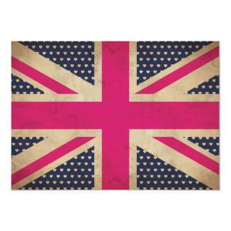 Old Union Jack in Pink Flag Invitation
