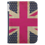 Old Union Jack in Pink Flag Kindle Folio Case