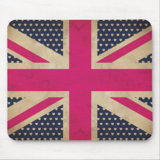 Old Union Jack in Pink Flag Mousepad