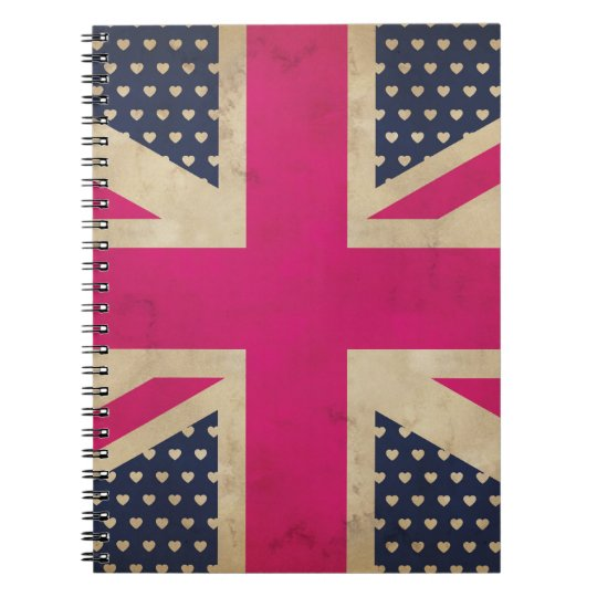 Old Union Jack in Pink Flag  Notebook