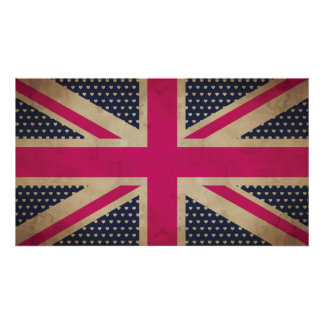 Old Union Jack in Pink Flag Poster/Print Poster
