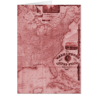 Old United States Map Card